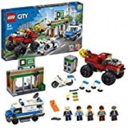 LEGO City Police - Policía: Atraco del Monster Truck, Set de Construcción a Partir de 5 Años, Contiene 2 Minifiguras, Camión Magnético, Banco de Juguete, Furgoneta Policía y Moto (60245)