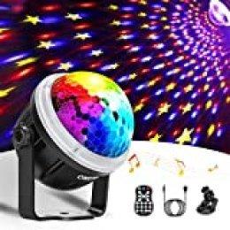 OMERIL Luces Discoteca Bola de Discoteca Activadas por Música con 10 Colores RGBY, Patrón de Estrella, Control Remoto, Luz Discoteca USB Giratoria de 360° para Fiestas, Bar, Navidad, Cumpleaños, Boda