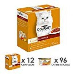 Gourmet Gold Casserole para el Gato, con Manzo Y Pollo, Pato y Pavo, Conejo y Fegato, Pescado Océano, 85g-Pack de 8Unidades