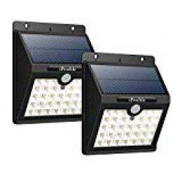 iPosible Luz Solar Jardín, 【3 Modos-2 Piezas】 33 LED Luces Solares con Sensor de Movimiento Focos Led Solars Exterior Impermeable Lampara Solar Pared para Jardín,Patio