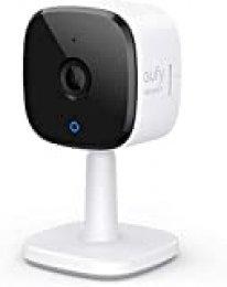 eufyCam 2K cámara IP WIFI de vigilancia enchufable para interiores, con función WLAN, reconocimiento de personas, asistente de voz, sensor de movimiento, visión nocturna, HomeBase No es necesario