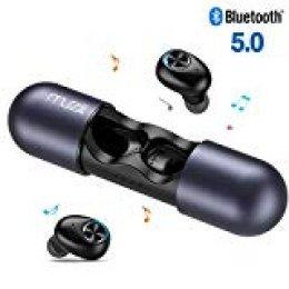 Muzili Auriculares Inalámbricos Bluetooth,V5.0 Auriculares Bluetooth Deportivos Verdaderos Estéreos Sonido Hi-Fi Auriculares Bluetooth con Micrófono Estuche de Carga Portátil para iPhone Android(Azul)