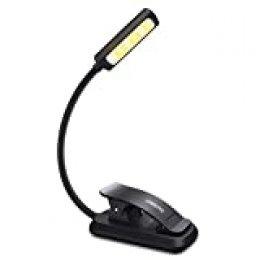 Luz de Lectura OMERIL Luz de Libro Recargable, 6 LED con 3 Modos de Brillo (Luz Cálido y Blanco), 360 ° Flexible Lampara de Lectura Pinza para Lectores Noche, E-Reader, Estudio, Cama, Tablet