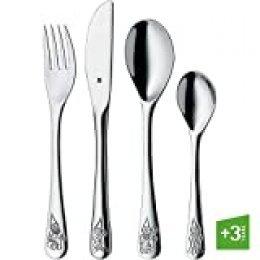 WMF Enanos - Cubertería para niños 4 piezas (tenedor, cuchillo de mesa, cuchara y cuchara pequeña) (WMF Kids infantil)