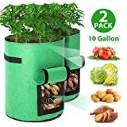 Tvird Macetero Bolsa Planta 2 Pack, Bolsa de Verduras, Bolsas de Cultivo, para Plantas Vegetales Aptas para Plantas de Patata, Zanahorias, Tomates, Cebollas y Otros
