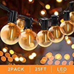 Svater Cadena de Bombillas, 2x25Ft Cadena de Luz, G40 Guirnaldas Luminosas de Exterior y Interiores con 2x25 Globe LED Bombillas, Guirnalda Luces Exterior Perefcto para Jardín Patio Fiesta Cafe