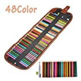 Yosoo Lápices de Colores de 48 Colores Surtidos Profesionales para Colorear, Acuarela, Pintura de Madera, lápices para niños y Adultos