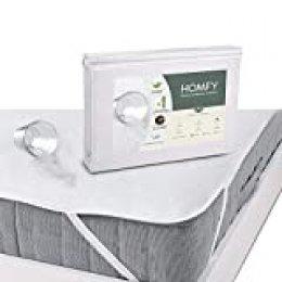 HOMFY Protector de colchón Impermeable, cubrecolchón Transpirable, antiácaros Hypo-allergénique, Eco Bambú Fibra (90x200cm)