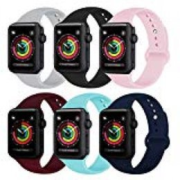 AK Compatible Apple Watch Correa 42mm 38mm 44mm 40mm, Silicona Blanda Deporte de Reemplazo Correas Compatible iWatch Series 4, Series 3, Series 2, Series 1 S/M M/L (#6-Pack, 38/40mm S/M)