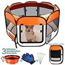 MASTERTOP Parque para perros plegable con guantes y comedero, 8 paneles, 114 x 114 x 61 cm, Oxford parque para perros, gatos y conejos, extraíble (naranja)
