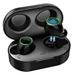 【Nuevo Versión】Auriculares Inalambricos Bluetooth 5.0, Auriculares Bluetooth Deportivos IPX7 Impermeable,Mini Twins Estéreo In-Ear con 21H Caja de Carga Portáti y Micrófono Dual para iPhone Android