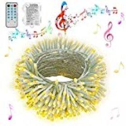 Hezbjiti Luces de cuerda de batería Hezbjiti, 100 luces de cadena de hadas activadas por sonido de LED con remoto, luces a batería a prueba de agua Sincronización con música para fiestas blanco cálido