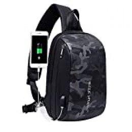 Arctic Hunter Bolso Cruzado Hombre, Bolso Pecho Impermeable con USB, Mochila Cruzada para Ciclismo, Caminar, Viajar y Trabajar