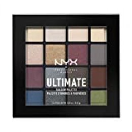 NYX Professional Makeup Paleta de sombra de ojos Ultimate Shadow Palette, Pigmentos compactos, 16 sombras, Acabados mate, satinados y metalizados, Tono: Smokey and Highlight