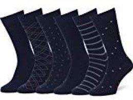 Easton Marlowe 6 PR Calcetines Sutilmente Estampados Hombre - 6pk #4-5, Azul - 39-42 talla de calzado UE