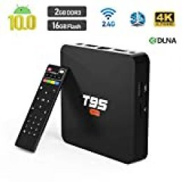 Android 10.0 TV Box, Sidiwen T95 Super Android Box Allwinner H3 Quad-Core 2GB RAM 16GB ROM Media Player, 2.4Ghz WiFi Ethernet 3D 4K Smart TV Box