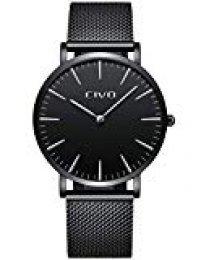 CIVO Reloj Negro Ultra Fino para Hombre Minimalista Moda Relojes de Pulsera para Hombres Vestir Casual Impermeable Reloj de Cuarzo para Hombre con Banda Negro de Acero Inoxidable (3 Negro)