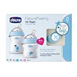 Chicco NaturalFeeling - Set de regalo con 2 biberones recién nacido + chupete 0 m+