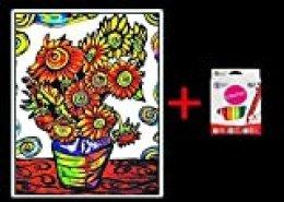 Terciopelo colorvelvet para colorear con caja de rotuladores (Girasoles)