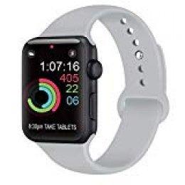 AK Compatible con para Apple Watch Correa 42mm 38mm 44mm 40mm, Silicona Blanda Deporte de Reemplazo Correas Compatible con para iWatch Series 4, Series 3, Series 2, Series 1 (04 Grey, 42/44mm M/L)