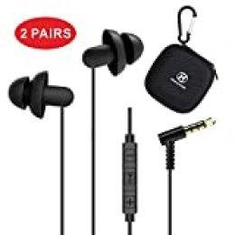 Hearprotek Auriculares para Dormir, in-Ear Auriculares Cancelación de Ruido con Micrófono y Control de Volumen, Tapones para Los Oídos para el Insomnio, Ronquidos y Viajes Aéreos, Conector de 3,5 mm