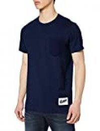 G-STAR RAW Contrast Pocket Straight Camiseta, Azul (Imperial Blue B255-1305), XL para Hombre