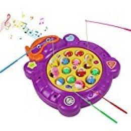Electric Magnetic Pesca de Juego de Mesa de Música de Rotación de Juguete Desarrollo Educativo Temprano para Niños 3 4 5 Años (Style B)