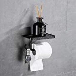 Gricol Portarrollos para Papel Higiénico Porta Rollos con Soporte para Teléfono Celular Toallero de Pared para Baño Estilo Retro Vintage (Negro)