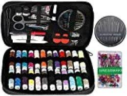 Anpro 220 PCS Kit de Costura, Kit Coser Costurero, Estuche Oxfords Portátil para Principiantes, Mini Kit de Costura Para el Hogar, Viajes, Negro