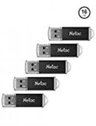 Netac Pendrive 16gb, Memoria USB de Estilo Clásico de Negocio, Pendrive Pequeño de Aleación de Aluminio con Grabado Láser, Pen Drive 16 GB Compatible con Ordenador/TV Box/Coche, etc (USB 2.0/ Pack 5)