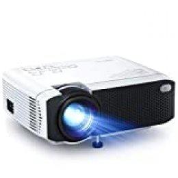 Proyector, APEMAN Mini Proyector Portátil en Casa, Soporte HD 1080P, 5000 Lúmenes, Pantalla Grande, Altavoces Duales, 50000 Horas Vida, Compatible con TV Stick, PS4 (Cable HDMI / RCA Incluido)