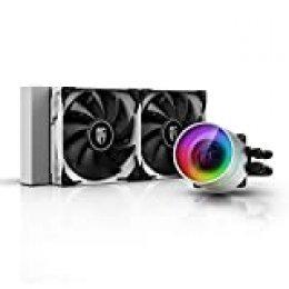 DEEP COOL Castle 240EX Blanco, Refrigeración Líquida RGB Direccionable para CPU, con Tecnología Anti-Fugas,Controlador de Cable y/o Control de Placa Base con A-RGB header de 5V-3Pin,Garantía de 3 años