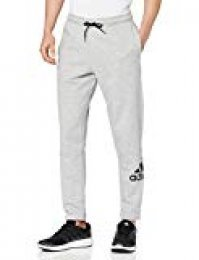 adidas Mh Bos Pnt FL Sport Trousers, Hombre, Medium Grey Heather/Black, S