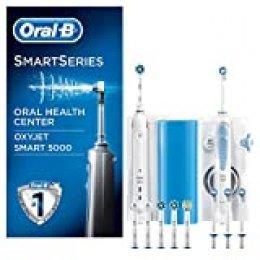 Oral-B Smart 5000 Estación de Cuidado Bucal: Mango de Cepillo Eléctrico + Oxyjet Irrigador con Tecnología Braun, 4 Cabezales Oxyjet, 6 Cabezales de Recambio, con conexión Bluetooth