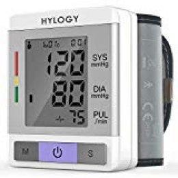 Tensiómetro de Muñeca, HYLOGY Tensiómetro Digital de Muñeca Totalmente Automático Presión Arterial y Detección de Pulso Arrítmico Memoria (2 * 90) Certifica FDA CE