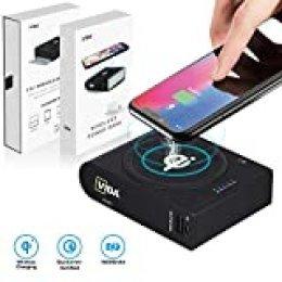CVIDA Banco de energía inalámbrico, 10000 mAh, 10 W, cargador inalámbrico rápido Qi con 3 salidas y 2 entradas de gran capacidad para batería externa, compatible con smartphone, tableta, Mackbook (soporta 18 W PD, QC 3.0.