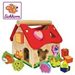 Eichhorn 100002098 - Casa de madera con 15 piezas de animales (20 x 18 x 18 cm) (Simba Dickie) , color/modelo surtido