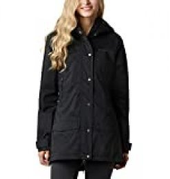 Columbia Rainy Creek, Gabardina impermeable, Mujer, Negro, S