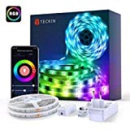 10M Luces de Tiras LED WiFi, TECKIN Tiras LED RGB 5050 12V con 300 LEDs, Compatible con Alexa, Google Home, App, Control Remoto de 24 Teclas para Decorativas para Navidad y Fiestas, Impermeable IP65