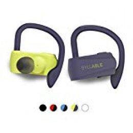 Auriculares Bluetooth Deportivos, Syllable D15 Auriculares Inalámbricos Estéreo para Deportes Bluetooth 5.0 Manos Libres con Micrófono Dual con Ganchos de Orejas para iPhone y Andriod (Amarillo/PL)