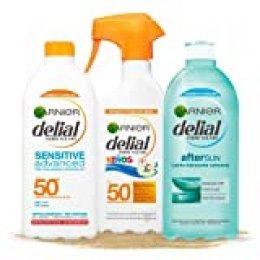 Garnier Delial Kit de Protección Solar, incluye Spray Niños SPF 50+ (300 ml), Leche Solar SPF 50+ (400 ml) y Leche Hidratante Calmante After Sun (400 ml)