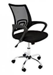 La Silla Española Ribadeo Silla de Oficina sin Reposacabezas, Poliéster y Rejilla, Negro, 61x58x89 cm