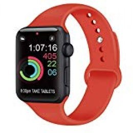 AK Compatible con para Apple Watch Correa 42mm 38mm 44mm 40mm, Silicona Blanda Deporte Reemplazo Correas Compatible con para iWatch Series 4, Series 3, Series 2, Series 1 (07 Orange Red, 38/40mm S/M)