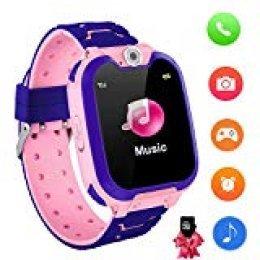Reloj Inteligente para niños con Juegos - Niños Chicas Reloj Digital Pulsera de 2 vías Llamada Reloj Despertador Juegos de cámara Reloj Infantil para niños de 3 a 12 años (Rosado)