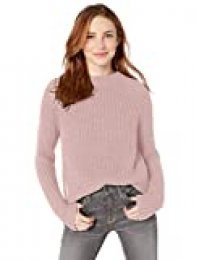Goodthreads Cotton Half-Cardigan Stitch Mock Neck Sweater Sweaters, Rosado(Vintage Pink), US S (EU S - M)