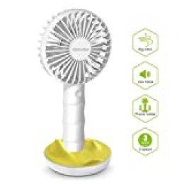 SAWAKE Mini Ventilador de Mano 2600mAh, Ventilador Portátil Recargable con Carga USB y Base, Hand Fan Personal con 3 Velocidades Ajustable de 3-10H para Oficina Hogar Exterior Viaje Acampada(Blanco)
