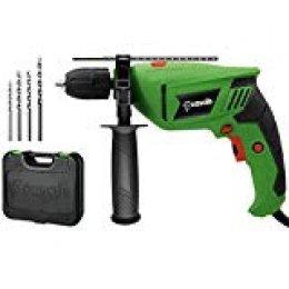 Casals VT80REAM+R - Taladro percutor (800 W, 3.000 rpm, 48.000 ipm, con maletín y estuche con accesorios) color verde y negro