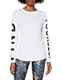Activewear Camiseta Manga Larga con Estampado Mujer, Blanco (White), 40 (Talla del Fabricante: Medium)