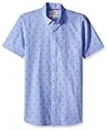 Marca Amazon – Goodthreads – Camisa dobby de manga corta de corte entallado para hombre, Azul (Blue Stork Sto), US S (EU S)