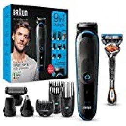 Braun MGK5280 9 en 1 - Máquina recortadora de barba, set de depilación corporal y cortapelos para hombre, color negro/azul